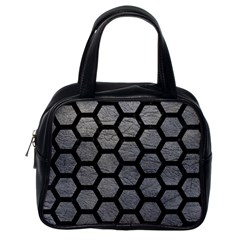 Hexagon2 Black Marble & Gray Leather (r) Classic Handbags (one Side) by trendistuff
