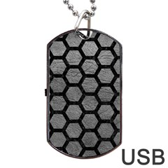 Hexagon2 Black Marble & Gray Leather (r) Dog Tag Usb Flash (two Sides) by trendistuff