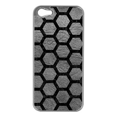 Hexagon2 Black Marble & Gray Leather (r) Apple Iphone 5 Case (silver) by trendistuff