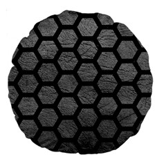 Hexagon2 Black Marble & Gray Leather (r) Large 18  Premium Round Cushions by trendistuff