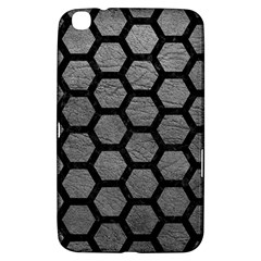 Hexagon2 Black Marble & Gray Leather (r) Samsung Galaxy Tab 3 (8 ) T3100 Hardshell Case  by trendistuff