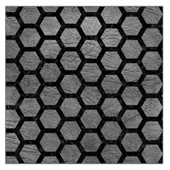 Hexagon2 Black Marble & Gray Leather (r) Large Satin Scarf (square)