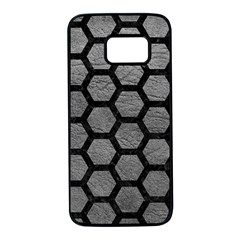 Hexagon2 Black Marble & Gray Leather (r) Samsung Galaxy S7 Black Seamless Case