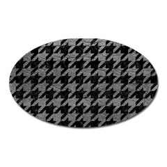 Houndstooth1 Black Marble & Gray Leather Oval Magnet by trendistuff