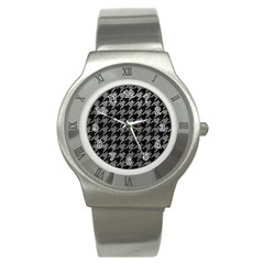 Houndstooth1 Black Marble & Gray Leather Stainless Steel Watch by trendistuff