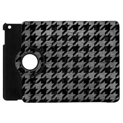 Houndstooth1 Black Marble & Gray Leather Apple Ipad Mini Flip 360 Case