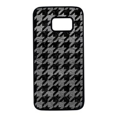 Houndstooth1 Black Marble & Gray Leather Samsung Galaxy S7 Black Seamless Case by trendistuff