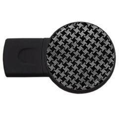 Houndstooth2 Black Marble & Gray Leather Usb Flash Drive Round (2 Gb) by trendistuff