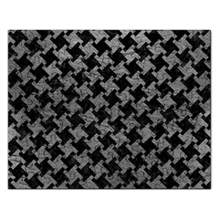 Houndstooth2 Black Marble & Gray Leather Rectangular Jigsaw Puzzl by trendistuff