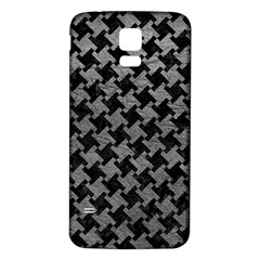 Houndstooth2 Black Marble & Gray Leather Samsung Galaxy S5 Back Case (white) by trendistuff