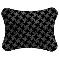 Houndstooth2 Black Marble & Gray Leather Jigsaw Puzzle Photo Stand (bow)
