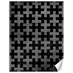 Puzzle1 Black Marble & Gray Leather Canvas 12  X 16   by trendistuff