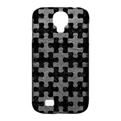 Puzzle1 Black Marble & Gray Leather Samsung Galaxy S4 Classic Hardshell Case (pc+silicone) by trendistuff
