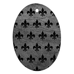 Royal1 Black Marble & Gray Leather Ornament (oval)
