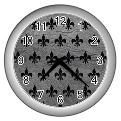 Royal1 Black Marble & Gray Leather Wall Clocks (silver)  by trendistuff