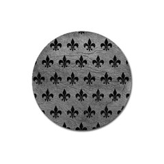 Royal1 Black Marble & Gray Leather Magnet 3  (round) by trendistuff