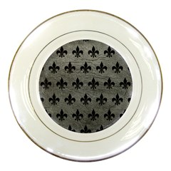 Royal1 Black Marble & Gray Leather Porcelain Plates by trendistuff