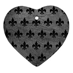 Royal1 Black Marble & Gray Leather Heart Ornament (two Sides) by trendistuff