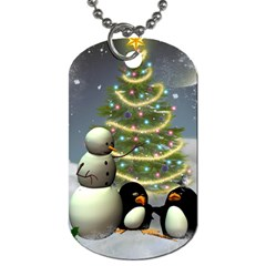 Funny Snowman With Penguin And Christmas Tree Dog Tag (two Sides)