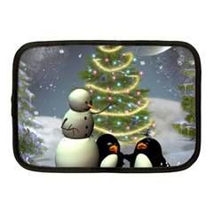 Funny Snowman With Penguin And Christmas Tree Netbook Case (medium)  by FantasyWorld7