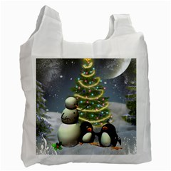 Funny Snowman With Penguin And Christmas Tree Recycle Bag (one Side) by FantasyWorld7
