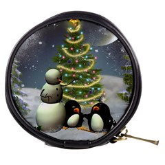 Funny Snowman With Penguin And Christmas Tree Mini Makeup Bags by FantasyWorld7