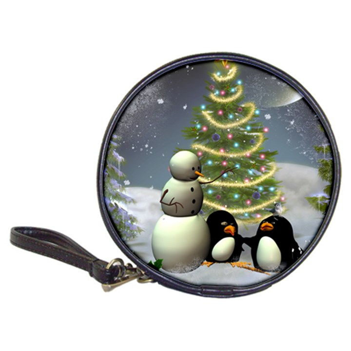 Funny Snowman With Penguin And Christmas Tree Classic 20-CD Wallets
