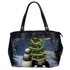 Funny Snowman With Penguin And Christmas Tree Office Handbags by FantasyWorld7