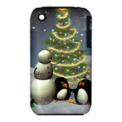 Funny Snowman With Penguin And Christmas Tree Iphone 3s/3gs by FantasyWorld7