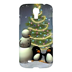 Funny Snowman With Penguin And Christmas Tree Samsung Galaxy S4 I9500/i9505 Hardshell Case by FantasyWorld7