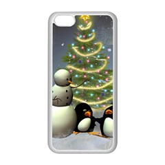 Funny Snowman With Penguin And Christmas Tree Apple Iphone 5c Seamless Case (white) by FantasyWorld7