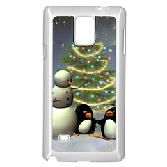 Funny Snowman With Penguin And Christmas Tree Samsung Galaxy Note 4 Case (white) by FantasyWorld7