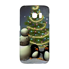 Funny Snowman With Penguin And Christmas Tree Galaxy S6 Edge by FantasyWorld7