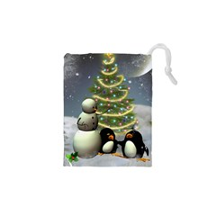 Funny Snowman With Penguin And Christmas Tree Drawstring Pouches (xs)  by FantasyWorld7