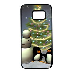 Funny Snowman With Penguin And Christmas Tree Samsung Galaxy S7 Black Seamless Case by FantasyWorld7