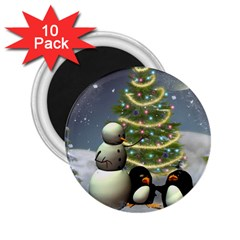Funny Snowman With Penguin And Christmas Tree 2 25  Magnets (10 Pack)  by FantasyWorld7