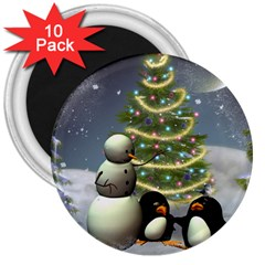 Funny Snowman With Penguin And Christmas Tree 3  Magnets (10 Pack)  by FantasyWorld7
