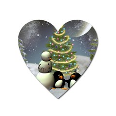 Funny Snowman With Penguin And Christmas Tree Heart Magnet by FantasyWorld7