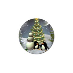 Funny Snowman With Penguin And Christmas Tree Golf Ball Marker (4 Pack)