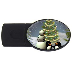 Funny Snowman With Penguin And Christmas Tree Usb Flash Drive Oval (2 Gb) by FantasyWorld7