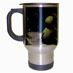 Funny Snowman With Penguin And Christmas Tree Travel Mug (silver Gray) by FantasyWorld7
