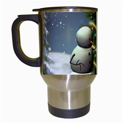 Funny Snowman With Penguin And Christmas Tree Travel Mugs (white) by FantasyWorld7