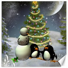 Funny Snowman With Penguin And Christmas Tree Canvas 20  X 20   by FantasyWorld7