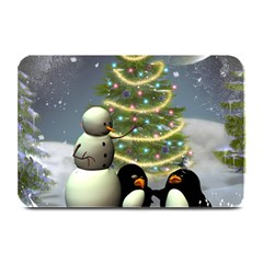 Funny Snowman With Penguin And Christmas Tree Plate Mats by FantasyWorld7