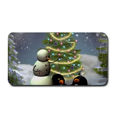 Funny Snowman With Penguin And Christmas Tree Medium Bar Mats by FantasyWorld7