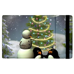 Funny Snowman With Penguin And Christmas Tree Apple Ipad 3/4 Flip Case by FantasyWorld7
