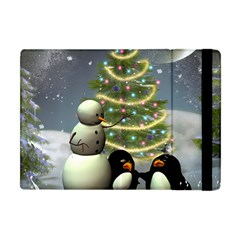 Funny Snowman With Penguin And Christmas Tree Apple Ipad Mini Flip Case by FantasyWorld7