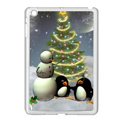 Funny Snowman With Penguin And Christmas Tree Apple Ipad Mini Case (white) by FantasyWorld7