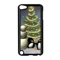 Funny Snowman With Penguin And Christmas Tree Apple Ipod Touch 5 Case (black) by FantasyWorld7
