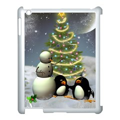 Funny Snowman With Penguin And Christmas Tree Apple Ipad 3/4 Case (white) by FantasyWorld7